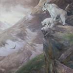 La petite corniche Chèvres des montagnes Rocheuses